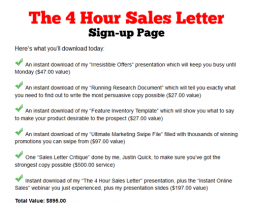 Justin Quick Marketing – 4 Hour Sales Letter